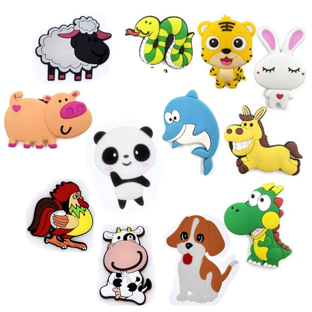 Koolemon 12pcs/lot Animals Fridge Magnets Whiteboard Sticker Rubber Refrigerator Magnets for Home Decoration Educational Kids Gift
