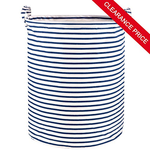 Wimaha Stripe Laundry Basket Laundry Foldable Large Hamper Cylinder Collapsible Kids for Clothes and Toys Organizer Storage Clothes Holder White Blue Striped Laundry Bag - Cylinder Storage Bin