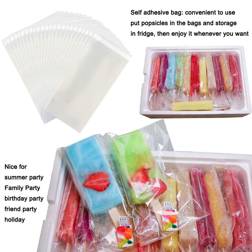 Wellood 200Pcs Popsicle Bags Ice Cream Bags Ice Pop Bags Popsicle Wrappers(self-sticking)