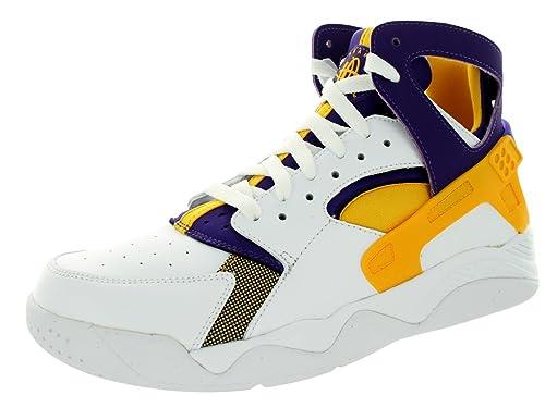 best website 2faea 78ec8 Nike Men s Air Flight Huarache White University Gold Crt Prpl Basketball  Shoe 11.5 Men