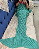 lingvi Mermaid Tail Blanket Kids Crochet Mermaid Sleeping Blanket Bag,All Seasons Mermaid Sleeping Bag Blanket for Kids Gift (Kids green)