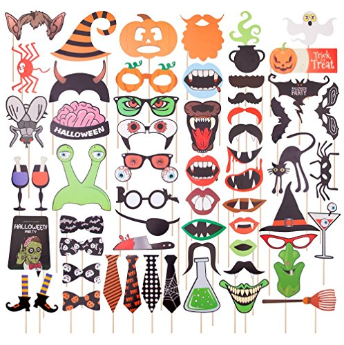 Halloween Photo Booth Props 59pcs DIY Party Favor Photo Booth Costumes Decoration Kit, Mustache Pumpkins Ghost Spider Bats Brain Eyeball Glasses Stick