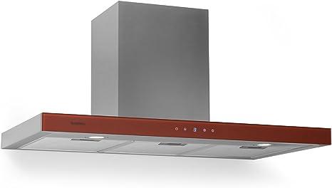 KLARSTEIN Bon Vivant - Campana extractora, Capacidad de absorción de 650 m³/h, 230 W de Potencia, silencioso, Panel de Control táctil, 3 Niveles de Intensidad, montado en Pared, Rojo: Amazon.es: Grandes electrodomésticos
