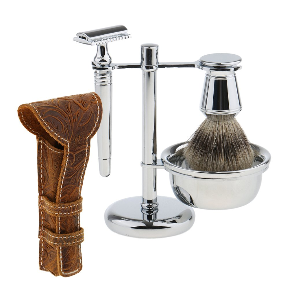 Dovewill Mens Beard Shave Grooming Set Razors+Brush+Removable Stand+Bowl+Safety Razors Case Pouch