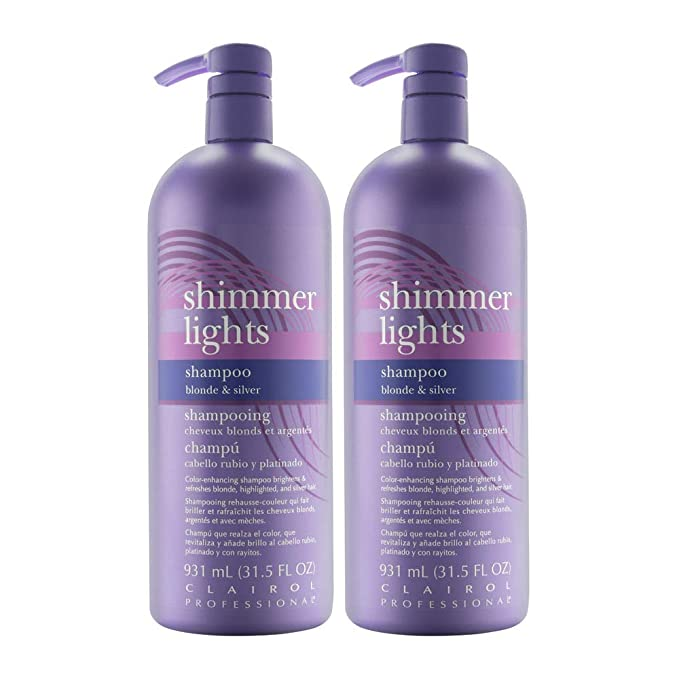 Clairol Shimmer Lights 31.5oz Shampoo (Blonde & Silver) (2 Pack)