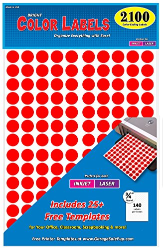"""Pack of 2100 3/4"""" Round Color Coding Circle Dot Labels, Bright Red, 8 1/2"""" x 11"""" Sheet, Fits Any Printer"""