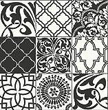 NextWall Graphic Tile Peel and Stick Wallpaper. (Black & White)