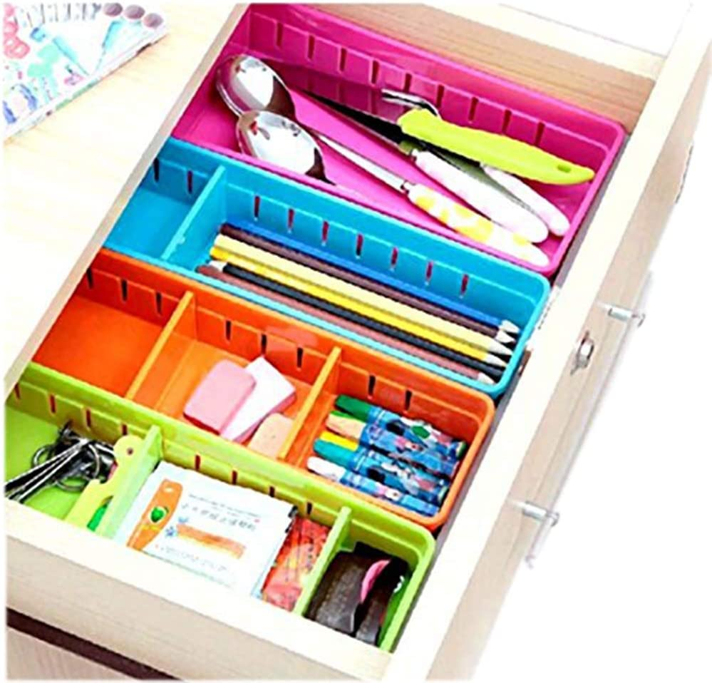 Creative Storage Drawers Drawer Organizers VANORIG Plastic Drawer Dividers Drawer Storage Box Stationery Makeup Organizers,Set of 4 (Assorted Colors)