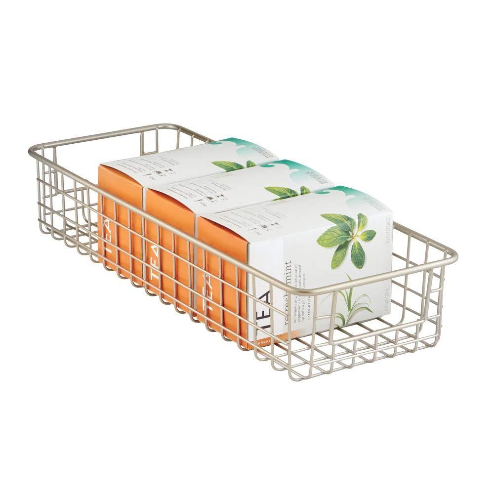 compacte et flexible corbeille de stockage grillag/ée box m/étallique compact avec poign/ées int/égr/ées mDesign panier de rangement /à utilisation universelle couleur : satin