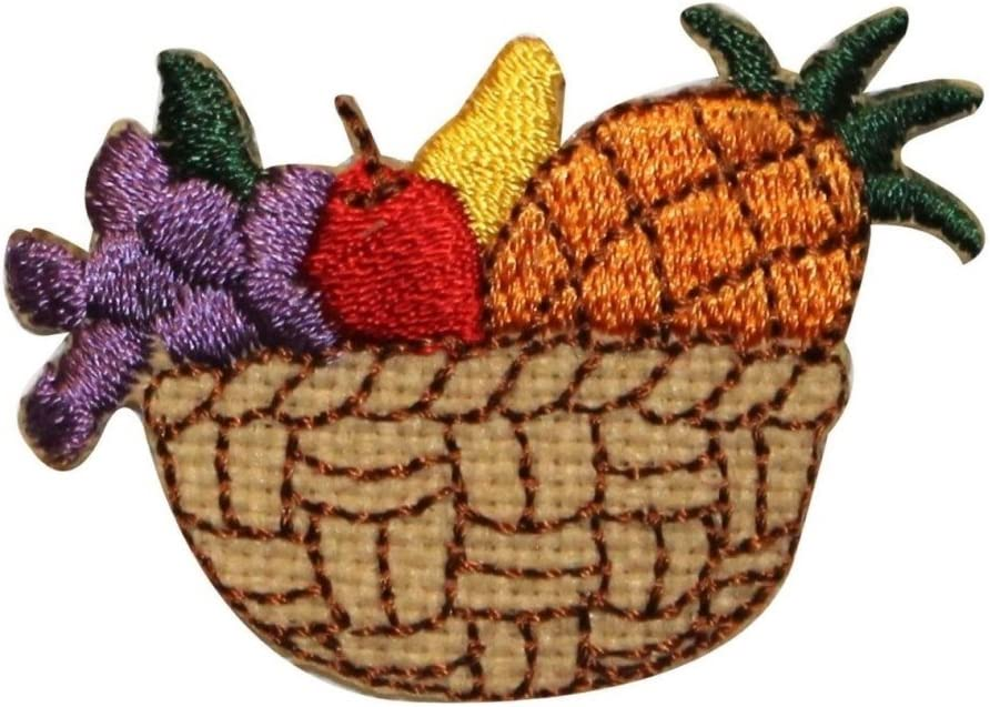 Iron on Weaved Basket with Feathers Applique Patch