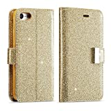 For iPhone 5 5S Wallet Case, iPhone SE Leather Cover, Luxury Shiny Sparkle Glitter Bling PU Leather [Magnetic Closure][Metal Buckle] Flip Kickstand Wallet Case with 5 Card Slots-Gold