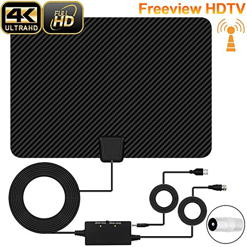 TV Aerial, XBoze Digital TV Aerial Paper Thin HDTV Antenna, 50+ Miles Range Freeview Indoor TV Aerial with 16.5FT Long Cable, Advanced Amplifier Booster for Digital TV Antenna (Black)