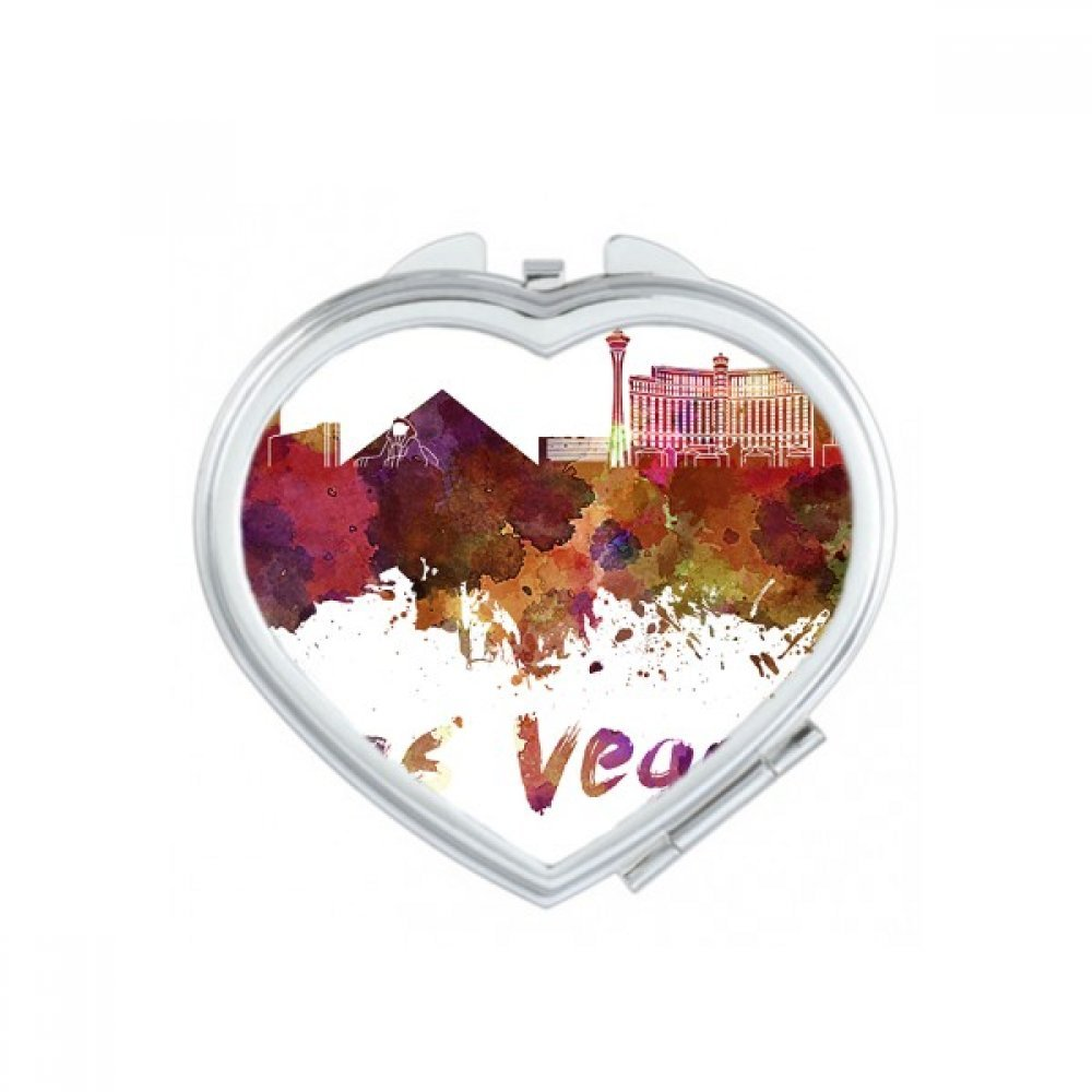 Las Vegas America Country City Watercolor Illustration Heart Compact Makeup Pocket Mirror Portable Cute Small Hand Mirrors Gift