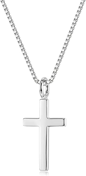 NEW! Small Thick Cross in SOLID 925 Sterling Silver with Sterling Chain