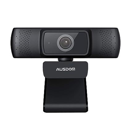 AUSDOM AF640 Webcam 1080P Full HD Caméra Web Vidéo avec Microphone Intégré à Réduction du Bruit et Mise au Point Automatique Compatible avec l'Ordinateur Macbook, Clip Rotatif Flexible