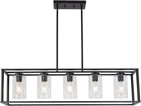 Amazon Com Vinluz Farmhouse Chandeliers Rectangle Black 5 Light Dining Room Lighting Fixtures Hanging Kitchen Island Cage Pendant Lights Contemporary Modern Ceiling Light With Glass Shade Adjustable Rods Home Improvement