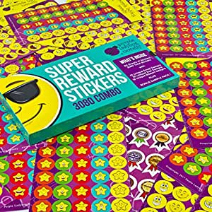 Super Reward Stickers for Teachers - 3080 Total Teacher Stickers, Combo of Emojis, Stars, and Ribbons by Purple Ladybug Novelty - Great value for parents, school, or classroom! Plus FREE sample pack!