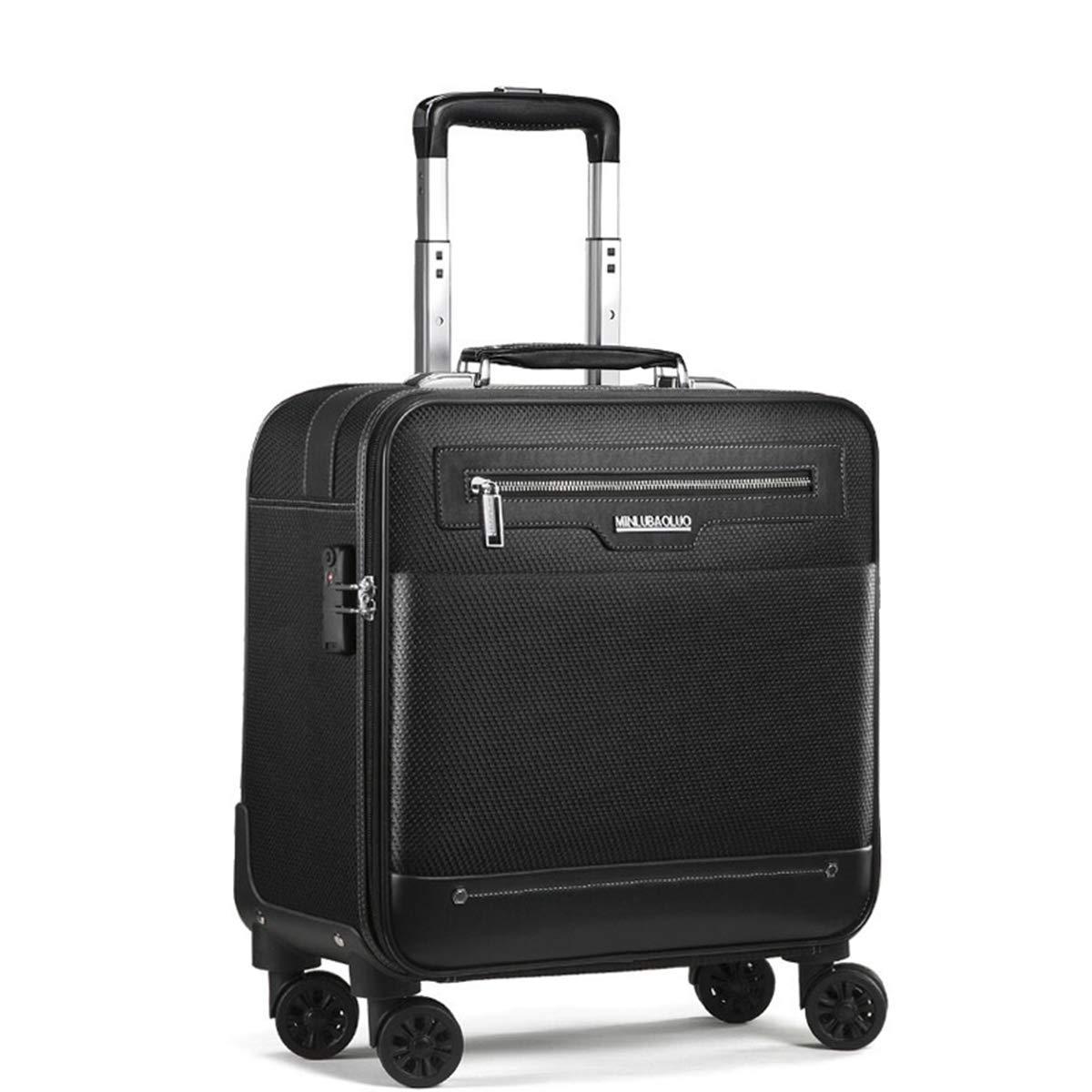 スーツケース、ユニバーサルホイール防水オックスフォードハンドトロリーボックスビジネススーツケース用男性と女性,Black,16in B07QDFFVJ5 Black 16in