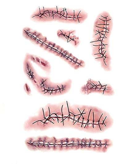 DELEY 6pcs Halloween Terror Zombie Cicatrices Sangrientas Herida Etiqueta Maquillaje Especial Impermeable Tatuajes Temporales Patrón 6