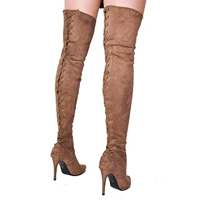 084b76f6b33 Lily Lulu Over The Knee Thigh High Faux Suede Lace Up Back Stiletto ...