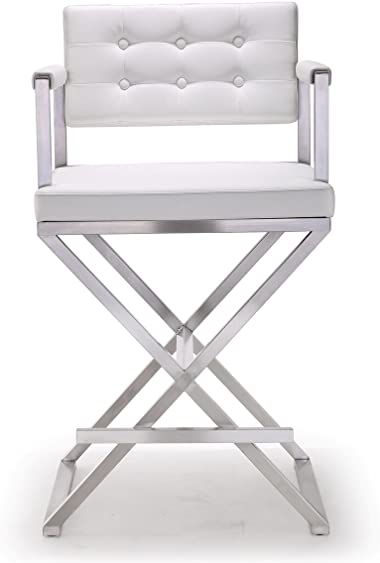 Tov Furniture The Director Collection Stainless Steel Metal Leather Upholstered Industrial Modern Counter Stool
