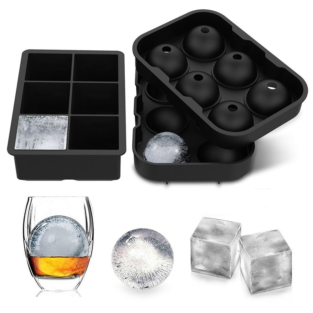 Large Ice Cube Trays Ice Ball Maker with Lids Combo(Set of 2), Silicone Sphere & Square Flexible Ice Cube Molds for Cocktails, Whiskey, Juice and Any Drinks- Reusable & BPA Free