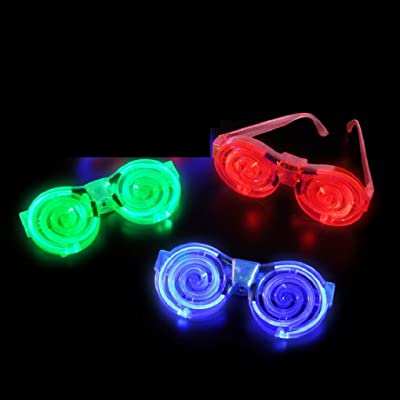 12 Pairs LED Light Up Flashing Spiral Glasses Party Glasses