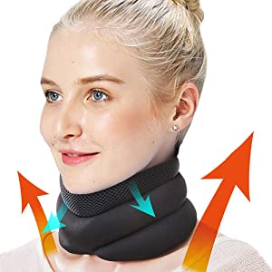 mwellewm V Neck Support Brace - Cervical Collar - Soft Neck Support Relieves Pain - Wraps Aligns Stabilizes Vertebrae - Can Be Used During Sleep-Airplane Travel Nap (L)