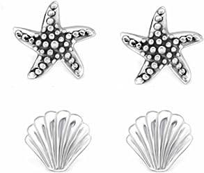 FIVE-D 2 Paar Ohrringe Set Ohrringe Muschel und Seestern 925 Silber in Geschenkbox