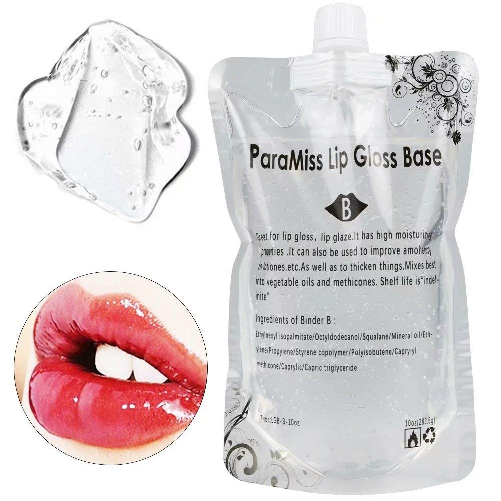 Lip Gloss Base Gel 10 OunceParaMiss Lip Glaze Base for Making Your Own Lip balm, Diy Lip Plumper Making Organic Lip Balm Diy lip Glow Diy clear lip gloss Making your lip tint Lip Maximize (B)
