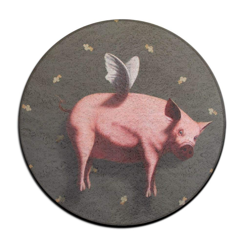 Non-Slip Round Rug Funny Pig Fly Entrance Doormat Floor Pet Kids Mat Shoes Scraper Diameter 23.6 inch