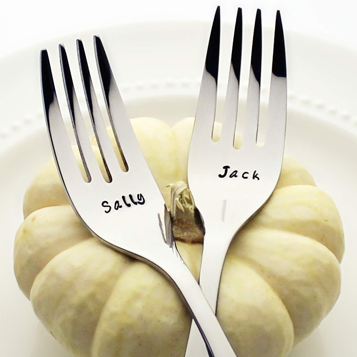 Nightmare Before Christmas: Jack/Sally - Fancy Handle Stainless Steel Stamped Fork Set, Stamped Silverware (Wedding Cake Forks)
