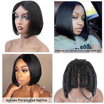 "23e4216c6 Halo Lady Straight Short Bob Wig 4""x4"" Lace Front Closure Human  Hair Wigs"