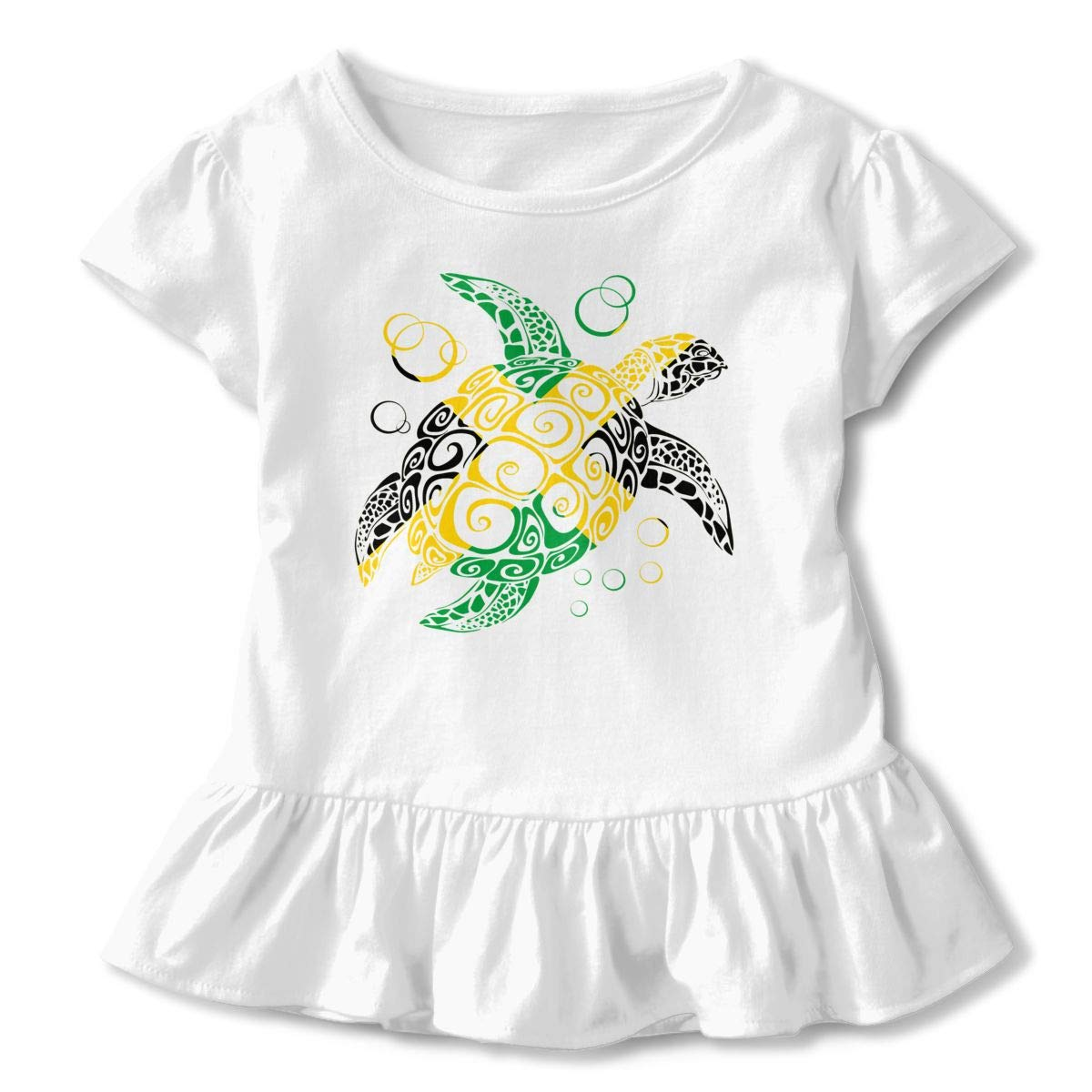 Flag of Jamaica Sea Turtle Toddler Baby Girls Cotton Ruffle Short Sleeve Top Cute T-Shirt 2-6T