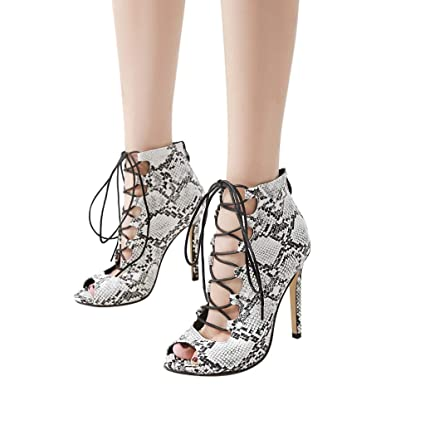 Shoes Heels Womens Sexy Snake Skin Pattern Shoes Lace-up Non-slip High Heel Sandals Women Sandals Ladies Summer Slippers Platform #a