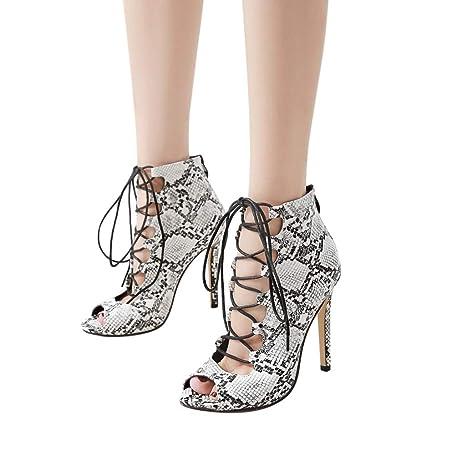 d3c651c57c Summer Sandal for Women, Fashion Women's Sexy Snake Skin Pattern  Shoes Lace-