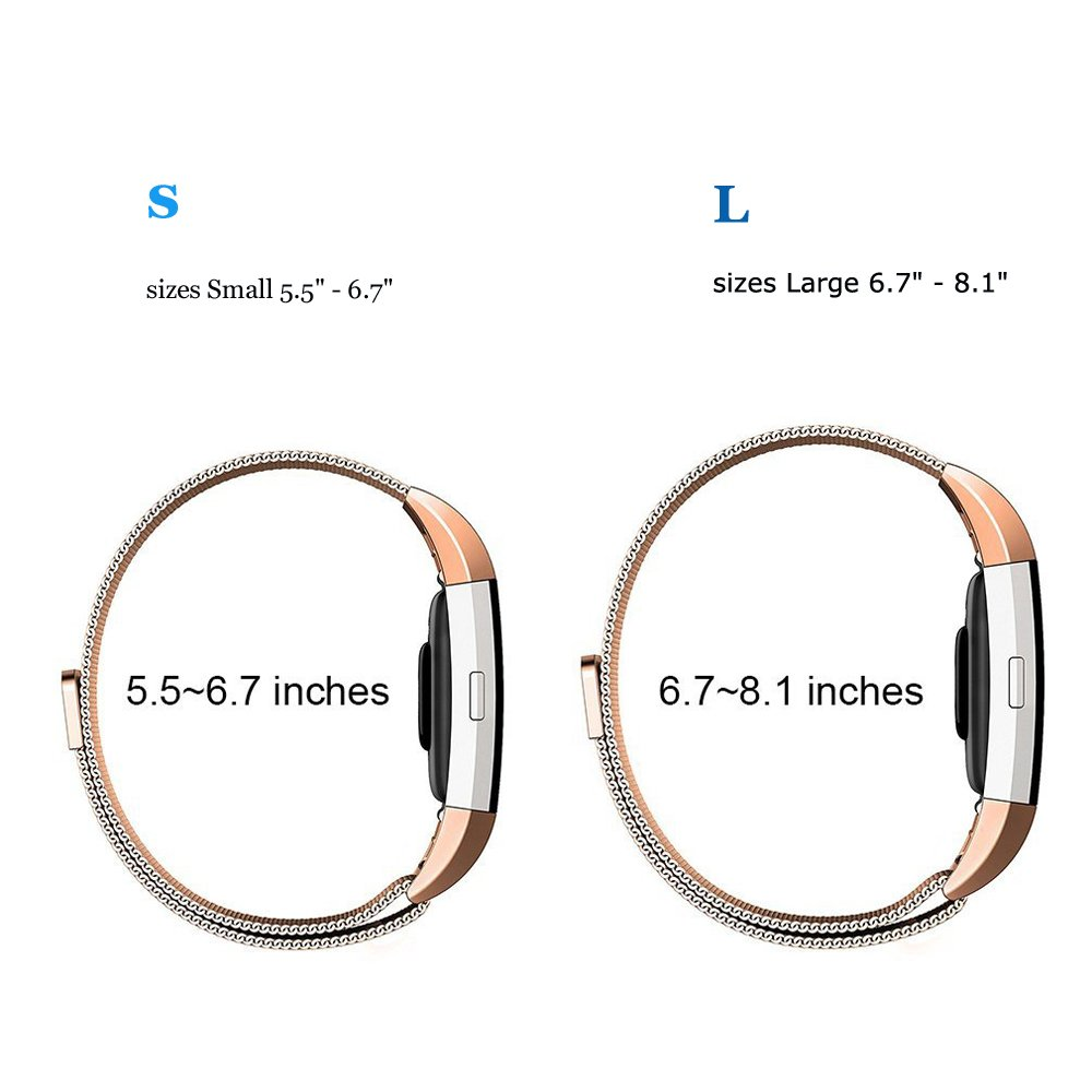 Stainless Steel Bracelet Unique Magnet Clasp Large Small 3 Colors Sporeek Metal Replacement Bands Compatible Fitbit Charge 2