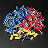 ISALI 100PCS Back Piggy Back Spade Crimp Connector Terminal 0.5-6.0mm² 10-22AWG PVC