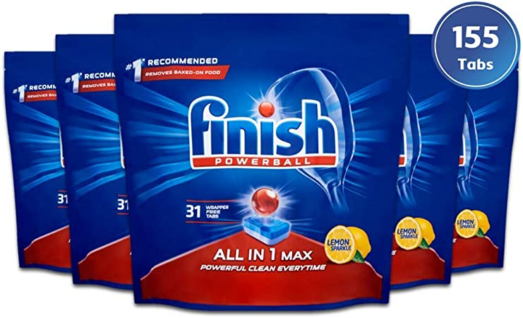 Finish Dishwasher Tablets, All in 1 Max Lemon (Pack of 5, Total 155 Tablets)