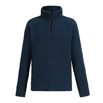 WINJUD Men Sweaters Warm Fluffy Winter Sweatshirts Solid Zip Up Pullovers Outwear(Navy,XS): Clothing