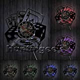 Poker Stars Playing Cards Vinyl Record Wall Clock Handmade Poker Clocks Game Room Wall Art Wall Decorative Clock Gift For Gamblers (With LED)
