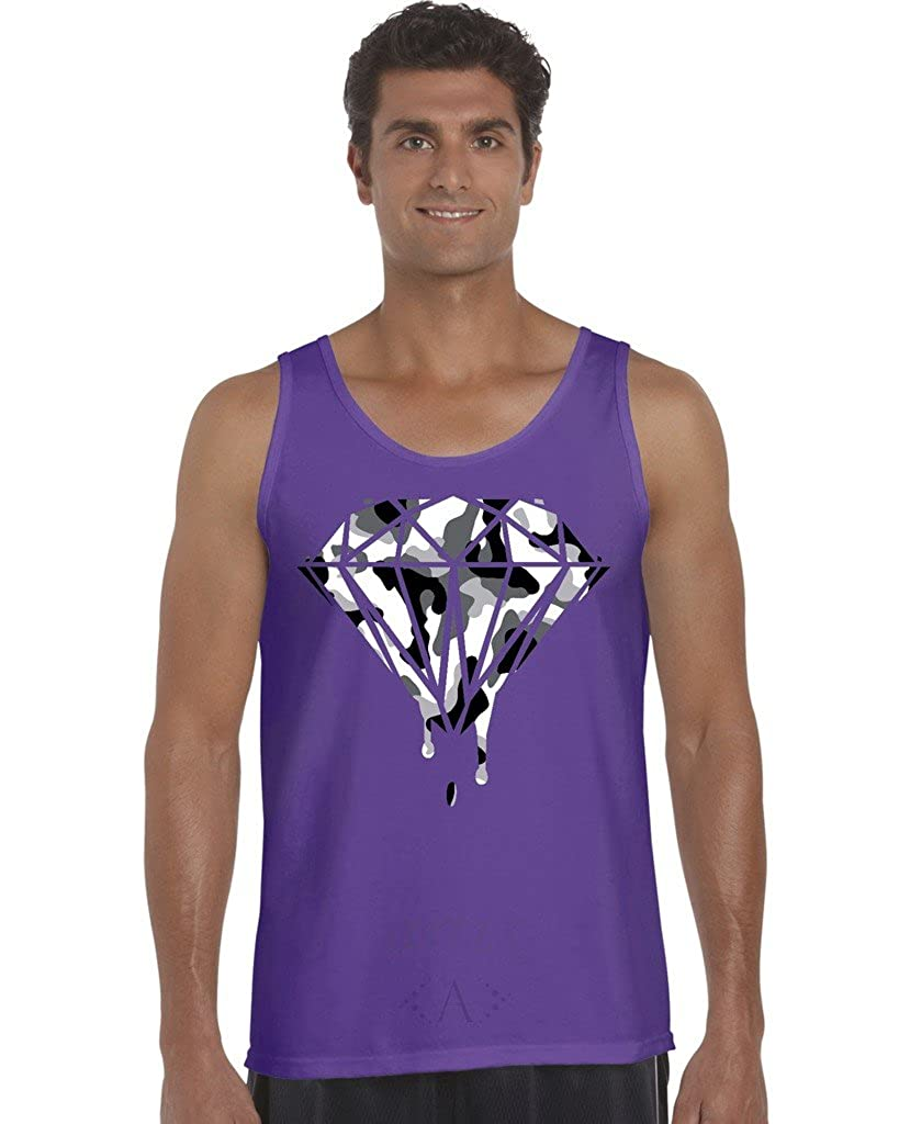 Black and White Camouflaged Diamond Mens Tank Top Large Purple Artix A