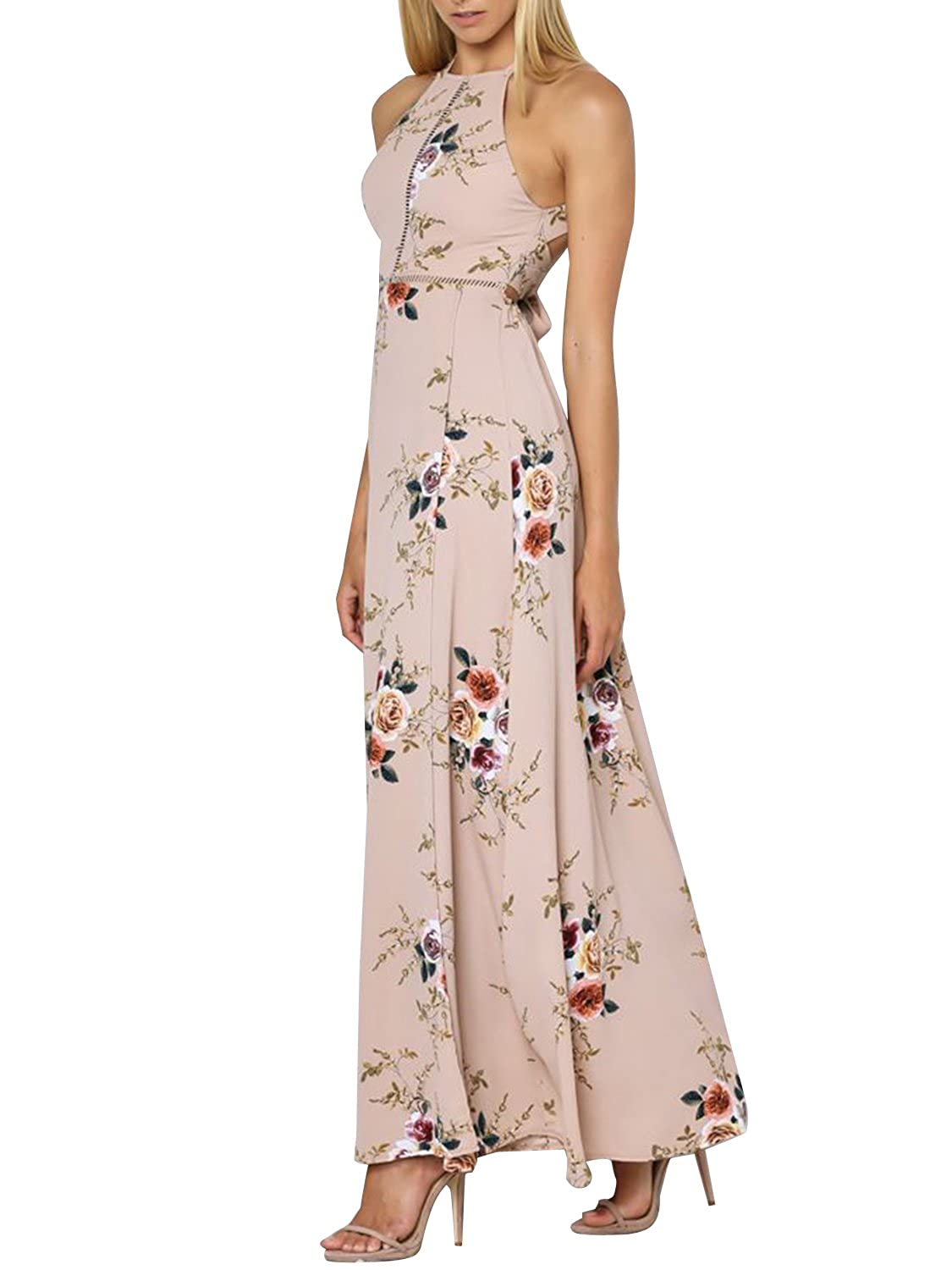 3ced5734c2b1 Made of soft chiffon and polyester blend fabric, light and wear  comfortable, please cold hand wash and lay flat to dry. Sexy backless  sleevedress maxi dress ...