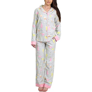 e93bc0eee1f munki munki Womens Fancy Drinks Flannel Printed Pajama Set at Amazon  Women s Clothing store
