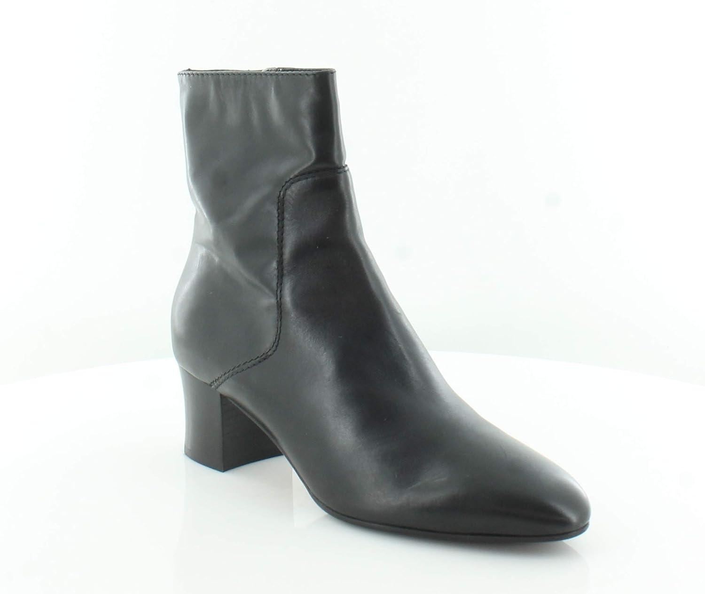 Black Leather Aquatalia Womens Fortuna Block Heel Ankle Boots