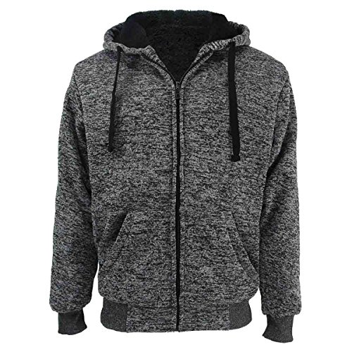 Erin Garments Big & Tall Oversized Heavyweight Sherpa Lined Fleece Hoodie Sweatshirts for Men Winter Zip Long Sleeve Jacket (XL, Dk.Grey)