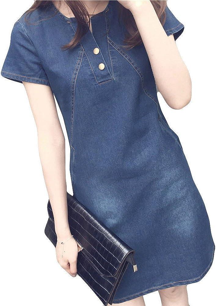 Kulywon Summer Womens Button Down Denim Sexy Dress Ladies Lace Jeans Long Shirt Dress