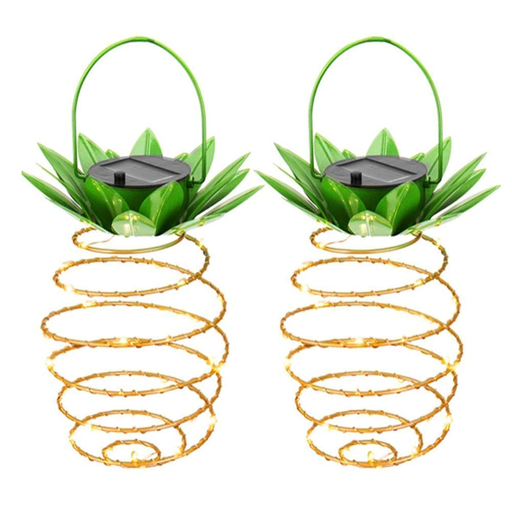 Garden Solar Lights, Pineapple Solar Path Lights, IP45 Waterproof 25 LED Outdoor Decor Path Lights Hanging Fairy Light, Warm White for Patio Path Home Décor Lighting 2 Pack (Pineapple)