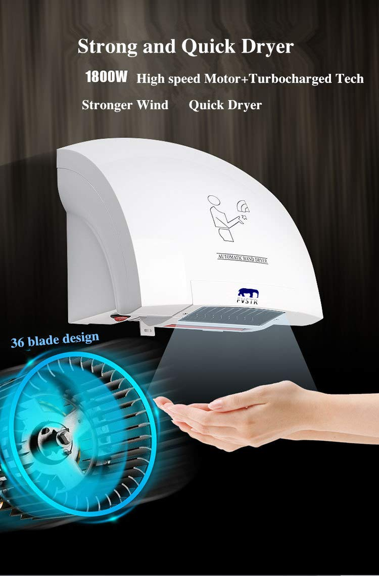 FVSTR Automatic High Speed Hand Dryer Colourful Stainless Steel Wall Hand-Drying for Commercial,Home Bathroom (White) by FVSTR