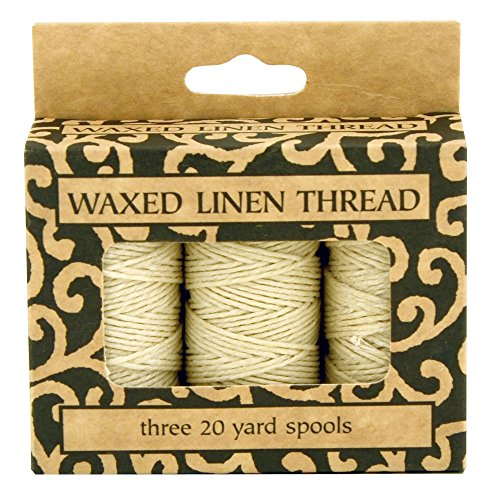 Lineco Waxed Genuine Linen Thread, 20 Yards, Pack of 3 Spools: Natural (BBHM208)